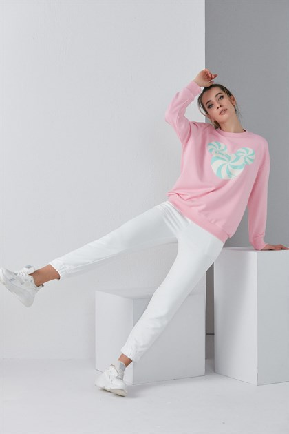 Şekerli Mickey Pembe Sweat